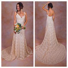 Lace Backless Wedding Dress. Plunge Scallop Front. LOW BACK wedding dress. simple elegant bohemian wedding dress. IVORY lace. by Dreamersandlovers on Etsy https://www.etsy.com/listing/202846470/lace-backless-wedding-dress-plunge