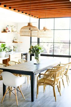 San Diego based interior design company specializing in residential design, home styling, and decorating. Selling eclectic, bohemian, modern pillows and home decor. Dining Chairs, Dining Table, Dining Rooms, Modern Pillows, Kitchen Dinning, Mid Century Modern Decor, Minimal Decor, Room Pictures, Interior Design Companies