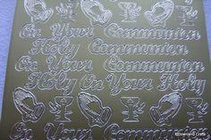 First Holy Communion Gold Peel Off Sticker Sheet
