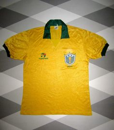 VINTAGE BRAZIL HOME FOOTBALL SHIRT TOPPER WORLD CUP ITALIA 90 RARE BRASIL LARGE | eBay
