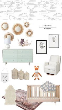 gender neutral nursery design // cloud wallpaper // sarah sherman samuel