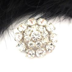 "Crystal Czech Rhinestone Pin - 1 4/10"" diameter"