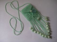 Hand beaded Amulet Necklace, Wish Bag, Treasure Bag in Green by SerenityCollections on Etsy