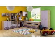 Children's Bedroom Furniture Set 1 ''Katie'' Bed Storage Units Wall Cabinet Bookshelf Desk Wardrobe Chest of Drawers and a Bookcase Childrens Bedroom Furniture, Bedroom Furniture Sets, Bookshelf Desk, Bookshelves, Triple Sleeper Bunk Bed, Bed Storage, Storage Units, Kid Beds, Kids Rugs