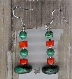 Earrings  Spiderweb Turquoise Coral Chrysocolla by ChicStatements, $22.00