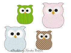 Eule Applikation Stickmuster für eine Stickmaschine. Owl appliqué embroidery for embroidery machines.