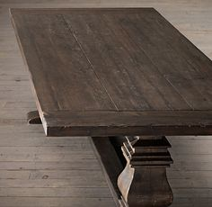 """Salvaged Wood Trestle Extension Dining Tables - salvaged brown 36"""" wide - hoping for narrower"""