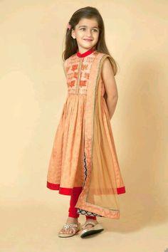 Latest kurti designs for little girls - ArtsyCraftsyDad Frocks For Girls, Dresses Kids Girl, Kids Outfits, Children Dress, Baby Dresses, Dance Outfits, Kids Salwar Kameez, Anarkali Churidar, Shalwar Kameez