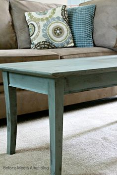 Before Meets After: Anne Sloan Chalk Paint in color:  Duck Egg Blue.  To see another table she painted this color:  http://www.beforemeetsafterblog.com/2013/04/sitting-room-updates-painted-antique.html