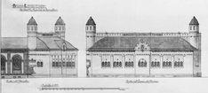 Bergen Lysverker Arkitekt Einar Oscar Schous tegning av omformerstasjon ved Lille Lungegårdsvann. Omformerstasjonen ble bygd i 1911 og revet på 1950-tallet grunnet utvidelse av lysverkets administrasjonsbygg. Arkivet etter arkitekt Einar Oscar Schou, Bergen Byarkiv.
