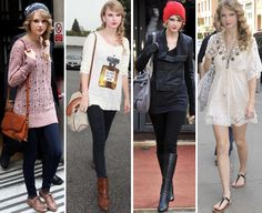 Taylor Swift is gorgeous. Her clothes always rock.im so inspired by her style I try to match it doesn't always work