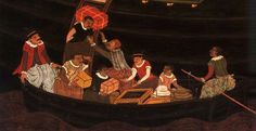 Namban Byobu (detail): Unloading of a Portuguese Carrack, by Kano School (17th Century)