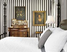half baths, interior, beds, paper flowers, black white, white bedrooms, hous, striped walls, stripes