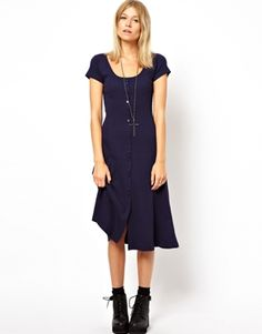 Image 1 ofASOS Midi Skater Dress In Rib With Button Front