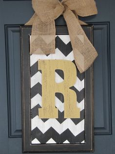 +Chevron door hanger ***took this idea and made it out of an old detailed picture frame, chevron fabric and a flower in the middle. I love it!!