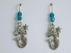 Pewter & Sterling Silver Mermaid w/ star fish dangle earrings-Mermaids, sirens
