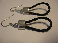 Black horsehair earrings 4 strand 3d braid by kimberlyclarkson