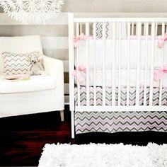 Pink & gray chevron baby bedding...love!!