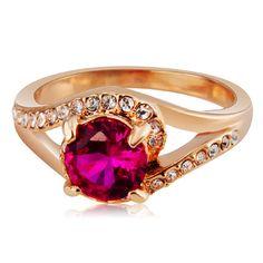 Stylish Women's Crystal + Alloy Ring - Rose Golden (US Size 8)