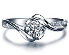 1 carat ronde Moissanite bague de fiançailles par Donatellajewelry