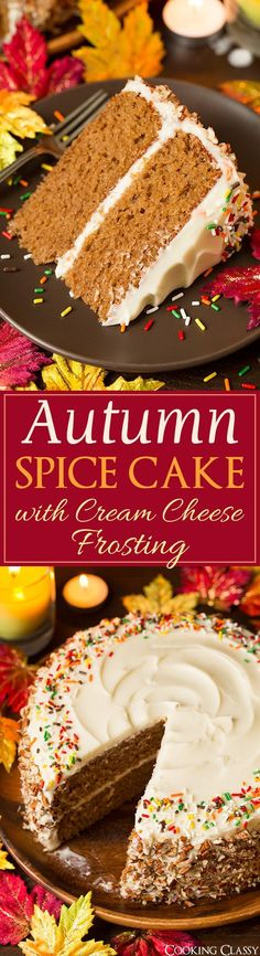 Autumn Spice Cake with Cream Cheese Frosting (Fall, Holiday baking, Thanksgiving, Christmas desserts, recipes) (Holiday Baking Tips)