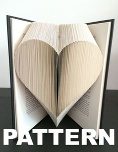 This Book Folding Pattern - Heart + Free Instructions - Great for beginners is just one of the custom, handmade pieces you'll find in our craft supplies & tools shops. Old Book Crafts, Book Page Crafts, Folded Book Art, Paper Book, Paper Art, Book Folding Patterns Free Templates, Book Sculpture, Paper Sculptures, Book Projects