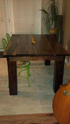 Walnut farmhouse kitchen table made by my husband