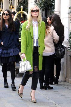Elle Fanning wears Topshop jeans and coat; Miu Miu sunglasses; Christopher Kane blouse, Miu Miu Madras Leather Shoulder Bag and Donna Bejeweled Suede Pumps. // #Denim #ElleFanning