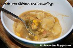 Crock-pot Chicken and Dumplings Mommy Games, Kitchen Canisters, Chicken And Dumplings, Cheeseburger Chowder, Crock Pot, Easy Meals, Soup, Ethnic Recipes, Kitchen Jars