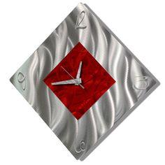 Red & Silver Modern Metal Wall Clock - Contemporary Functional Art - Home Decor - Wall Accent - Fresh Start by Jon Allen