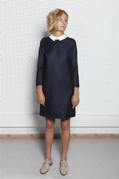 Romee Laurent midnight blue wool dress with contrast collar