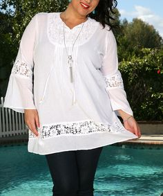 Look at this #zulilyfind! White Embroidered Notch Neck Tunic - Plus by Ananda's Collection #zulilyfinds