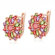 Cheap crystal flower stud earrings, Buy Quality flower stud earrings directly from China fashion stud earrings Suppliers: Colorful Crystal Flower Stud Earrings 2017 New Arrival Fashion Party Earrings for Women Earrings Jewelry Rose Gold Drop Earrings, Gold Plated Earrings, Women's Earrings, Flower Earrings, Crystal Earrings, Stones And Crystals, Fashion Jewelry Stores, Fashion Jewellery, Swimsuits