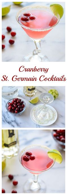 Cranberry St. Germain Cocktails. A beautiful, festive holiday drink! Perfect for any Christmas party.