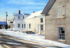 "Gregory Dunham Watercolor, ""Morning Light, Searsport"""