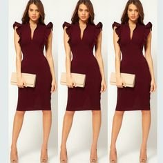 A fashion look from October 2015 featuring red body con dress. Browse and shop related looks. Modest Outfits, Chic Outfits, Fashion Outfits, Womens Fashion, Dresses For Work, Formal Dresses, Work Wardrobe, Dresses Online, Short Sleeve Dresses