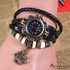 Handmade Vintage Leather Band Watches Lady Woman Wrist Watch with crown, Leather Watch Bracelets Big Sale Only USD7.89 Free Shipping Buy Link: https://www.akisonshop.com/watch/vintage-leather-bracelet-quartz-wrist-watch-crown-S002.html