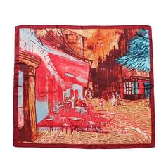Women Silk Big Satin Street Printing Square Scarf Bandana Wrap Shawl