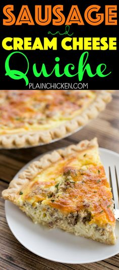 Sausage and Cream Cheese Quiche so quick and easy Everyone LOVED this recipe Can make ahead and freeze for later Pie crust sausage cream cheese cheddar cheese heavy crea. Sausage Quiche, Cheese Quiche, Sausage Breakfast, Breakfast For Dinner, Breakfast Dishes, Best Breakfast, Cheddar Cheese, Breakfast Ideas, Breakfast Recipes