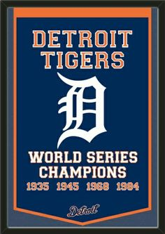 Dynasty Banner Of Detroit Tigers With Team Color Double Matting-Framed Awesome & Beautiful-Must For A Championship Team Fan! Most MLB Team Dynasty Banners Available Detroit Sports, Detroit Tigers Baseball, Usa Sports, Baseball Bats, Baseball Players, Pittsburgh Steelers, Dallas Cowboys, Mlb Team Logos, Mlb Teams