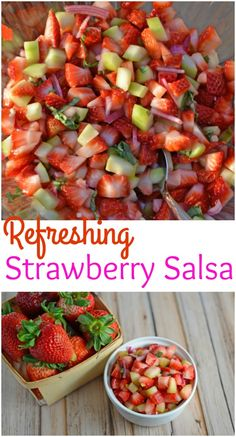 Strawberry Salsa Recipe- only 6 ingredients for this zingy and sweet strawberry salsa! Serve with cinnamon and sugar pita chips, on ice cream, on top of a salad or with grilled salmon, chicken or shrimp. www.savoryexperiments.com