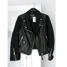 HP  Saks Leather MOTO Jacket black LARGE New with tags. the styling I this jacket is perfection! Size Large - we have it pinned in Shannon in the back - fits true to size.  from Saks fifth avenue - new with tags. Cottons back helps with easy, comfortable fit. We shot all our posh pictures  with this jacket Friday because it just made every outfit better :) all pics are of actual item for sale vs internet copy and paste. Holler with questions-xo Saks Jackets & Coats