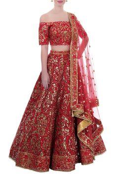 Buy Red mirror work lehenga set by Tamanna Punjabi Kapoor at Aza Fashions Red Wedding Lehenga, Red Lehenga, Indian Bridal Lehenga, Indian Bridal Wear, Indian Wedding Outfits, Bridal Outfits, Indian Outfits, Lehenga Choli, Anarkali