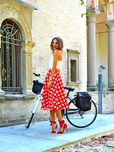 welcome to my world: Red & white midi skirt