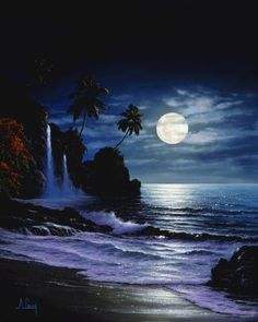 Tropical waterfall by moonlight Moon Photos, Moon Pictures, Gif Pictures, Moonlight Sonata, Shoot The Moon, Beautiful Moon, Beautiful Waterfalls, Moon Art, Night Skies