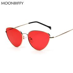 c4825f834b Cat Eye Women Sunglasses Tinted Color Lens Vintage Shaped Sun Glasses Women  Eyewear 70s Luxe Red Female Sunglasses