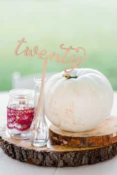 Rustic reception table decor, fall wedding, white pumpkins, glittery gold table numbers, DIY decor ideas // Dawn Derbyshire Photography