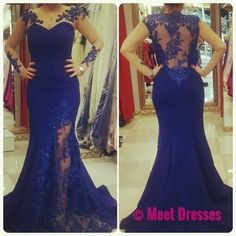 Royal Blue Prom Dresses,2018 Lace Evening Dress,Backless Prom Dress,Prom Dresses With Long Sleeves,Charming Prom Gown,Open Back Prom Dress,Mermaid Fashion Evening Gowns for Teens PD20183306