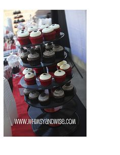 Vinyl Record Cupcake Stand/ Tower. {Rock & Roll Party/ Shower} I know those cupcakes by @julieyoung were amazing!