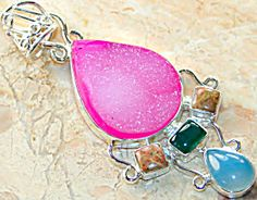 "$68 Pink Drusy Agate Chalcedony Jasper Pendant Sterling Silver (Image1)BIG! UNIQUE ORIGINAL PINK DRUZY, AGATE, UNAKITE, CHALCEDONY STERLING SILVER PENDANT 3"" long,"